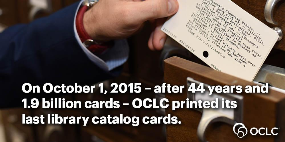Today, after 44 years and 1.9 billion cards, OCLC printed its last library catalog cards. https://t.co/4WFKvOcXsq https://t.co/lQwawl5UU8