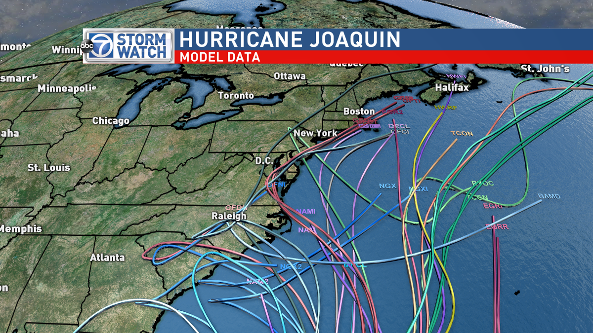 Good news! Latest model data plots - most are well off the coast. #Hurricane #Joaquin @ABC7News https://t.co/gSEzNuRK3s