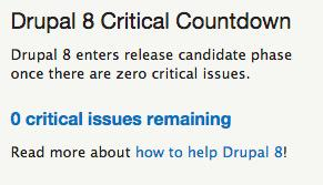 It's official -> #Drupal8 has ZERO Critical Issues! <- \o/ Amazing! https://t.co/XayzPUVBk2