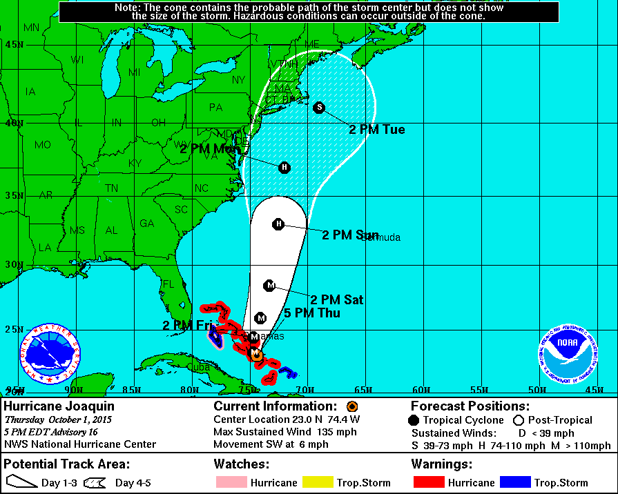 HURRICANE JOAQUIN STRENGTHENS, BUT MAY HEAD OUT TO SEA…