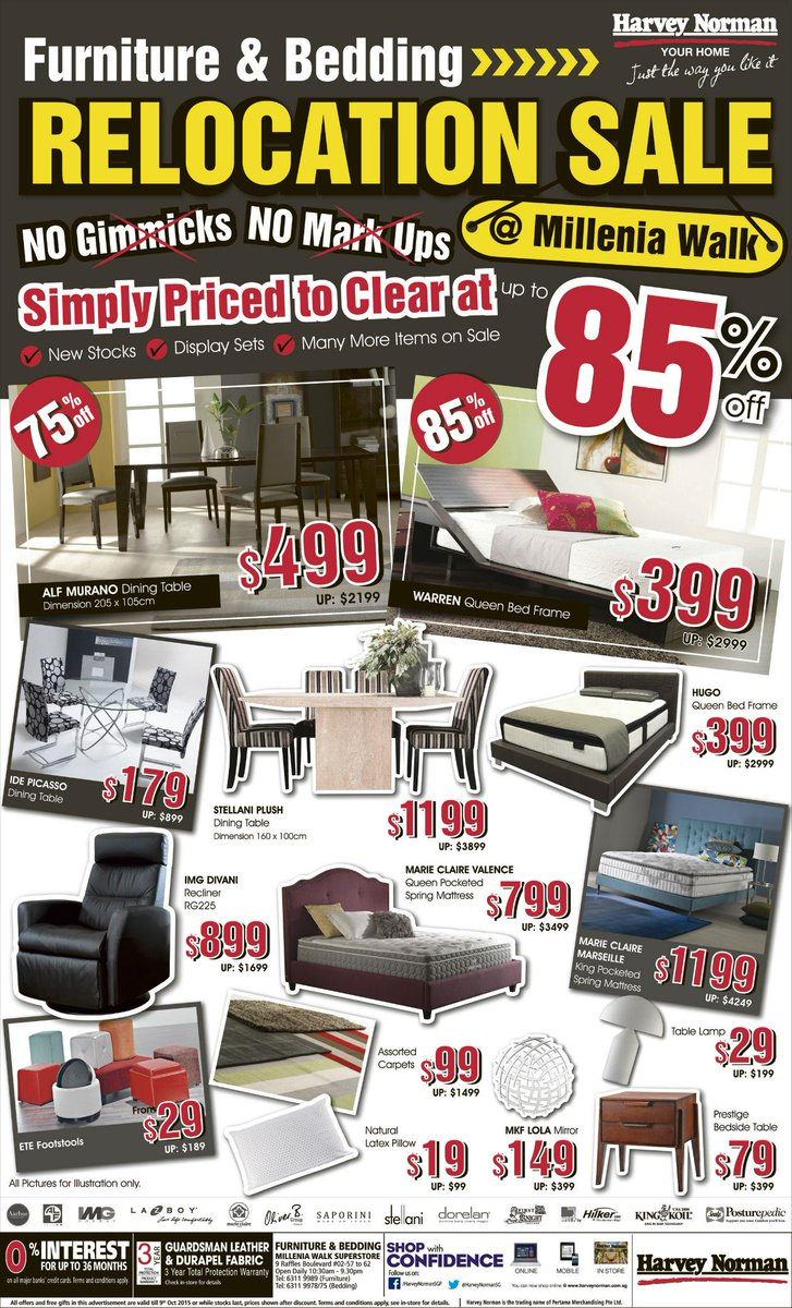 Harvey Norman Sg On Twitter Furniture Bedding Relocation At Millenia Walk Up To 85 Off Http T Co Zwhx8piz3o D9sehhqrei