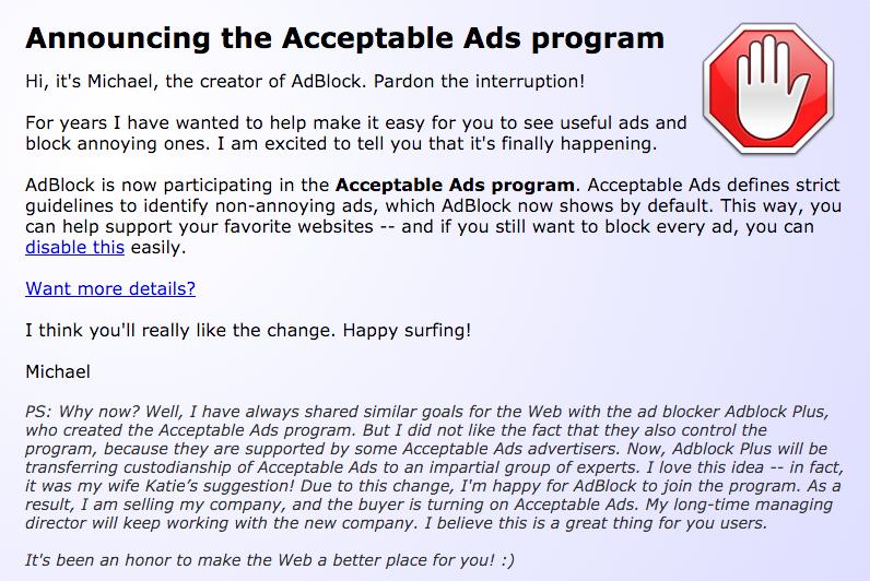 AdBlock стал показывать «приемлемую» рекламу и продался неизвестному лицу