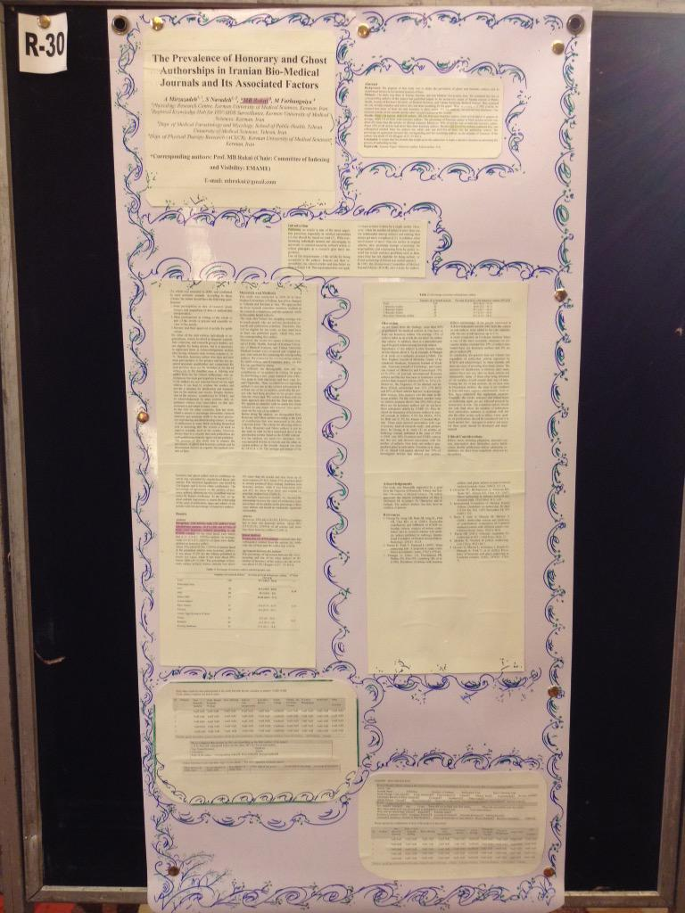 Some author has decided to cut up a publication and put it on a poster board #wame. Interesting borders though! http://t.co/JLy10vvDJU