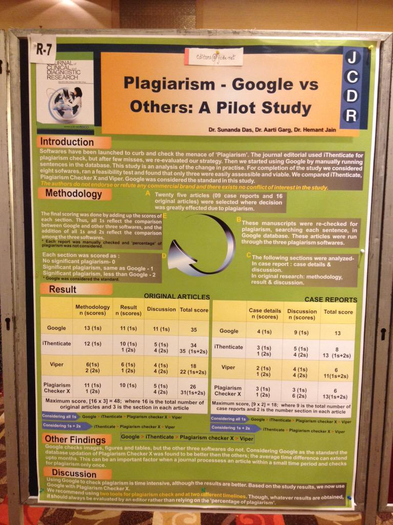 Google has worked better than ithenticate to detect plagiarism for this group of journal editors http://t.co/6wPmuth4bP