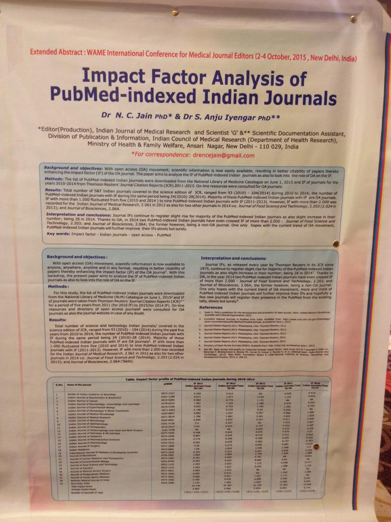 This poster credits open access for the increase in Impact Factor of some Indian journals #WAME http://t.co/UJcVKPVC3E