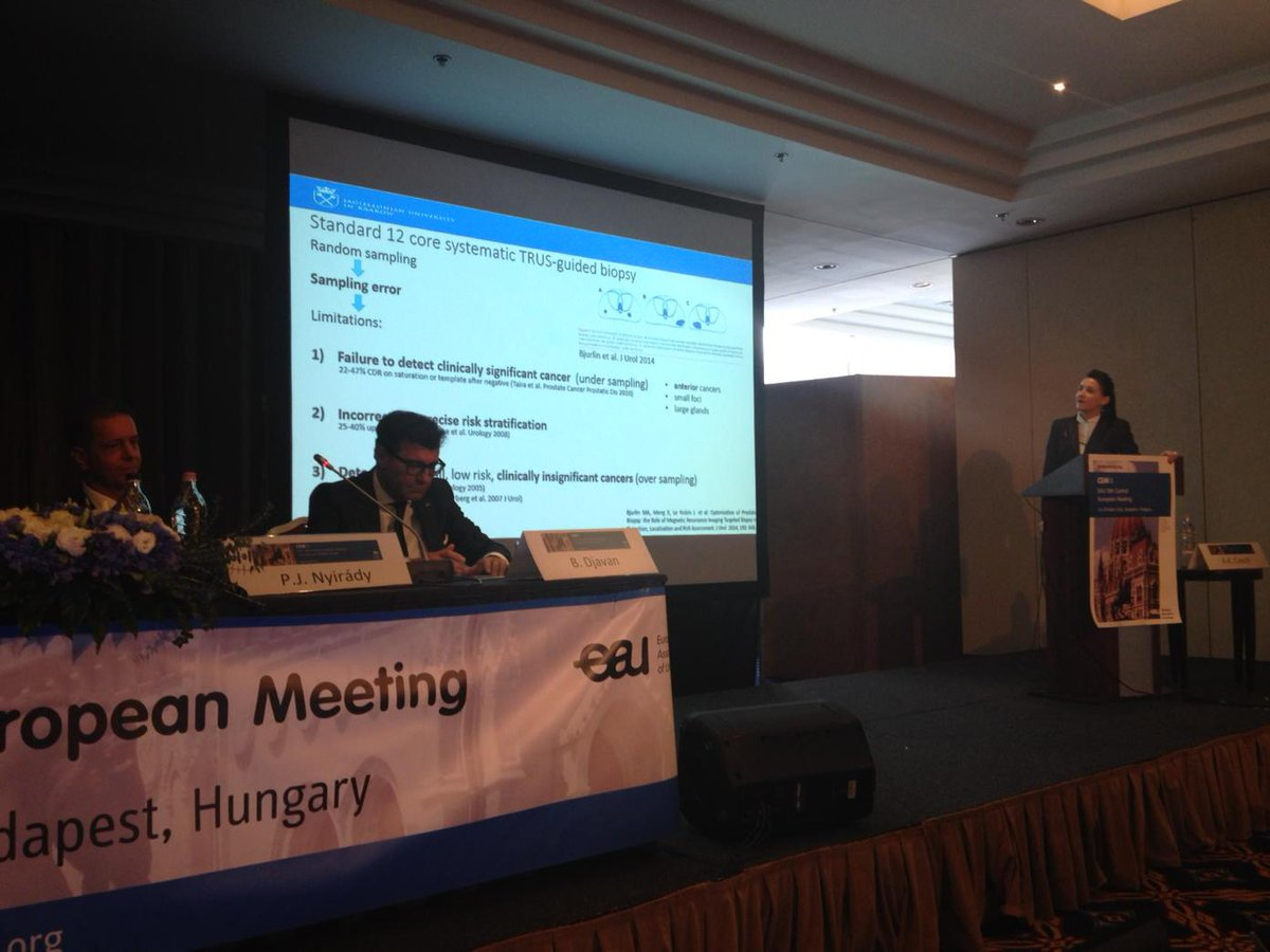Dr Anna Czech: Template or Targeted biopsy? MP-MRI helps not diagnosing insignificant PC #CEM15 http://t.co/m1fbUQEzsd