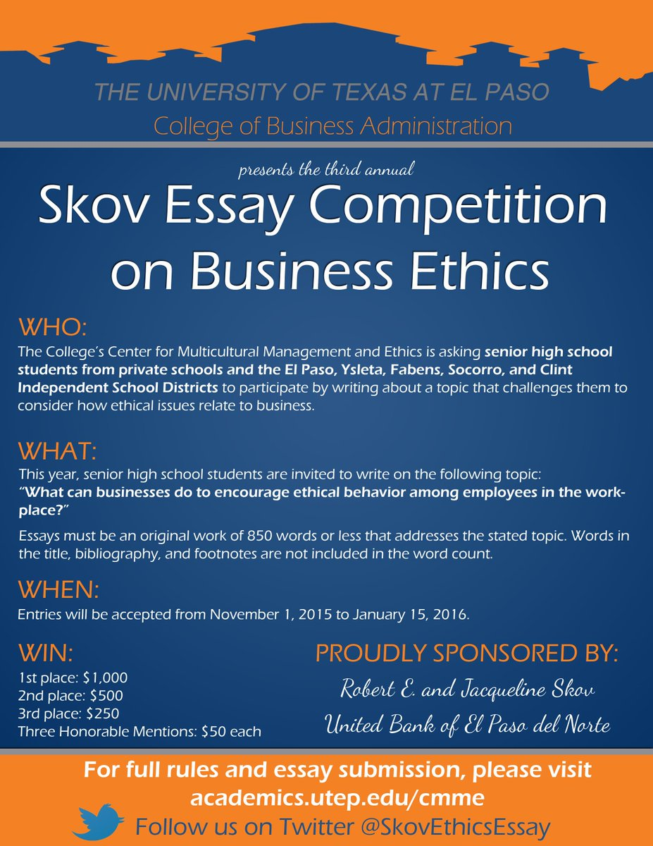 ethics essay contest arizona Briefing id #: 22220 all senior high school principals/aps/teachers: elie wiesel foundation's prize in ethics essay contest for shs juniors and seniors.