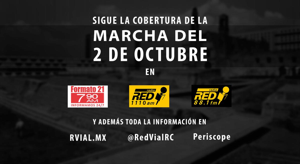 Toda la información de la marcha #2DeOctubreNoSeOlvida en rvial.mx Sigue las transmisiones en 790AM, 1110AM y 88.1FM http://t.co/15fP6ZnSW7