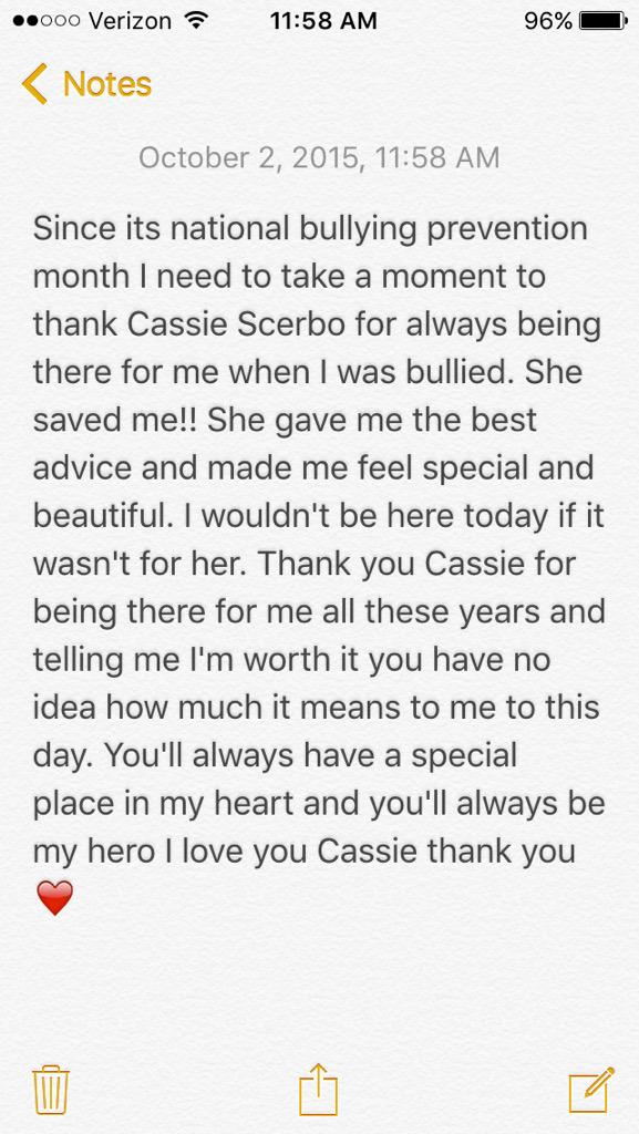 Thank you @CassieScerbo I hope you know you helped me so much @BOO2BULLYING #Boo2Bullying #EndHate #MyHero http://t.co/SrVpwhWONt