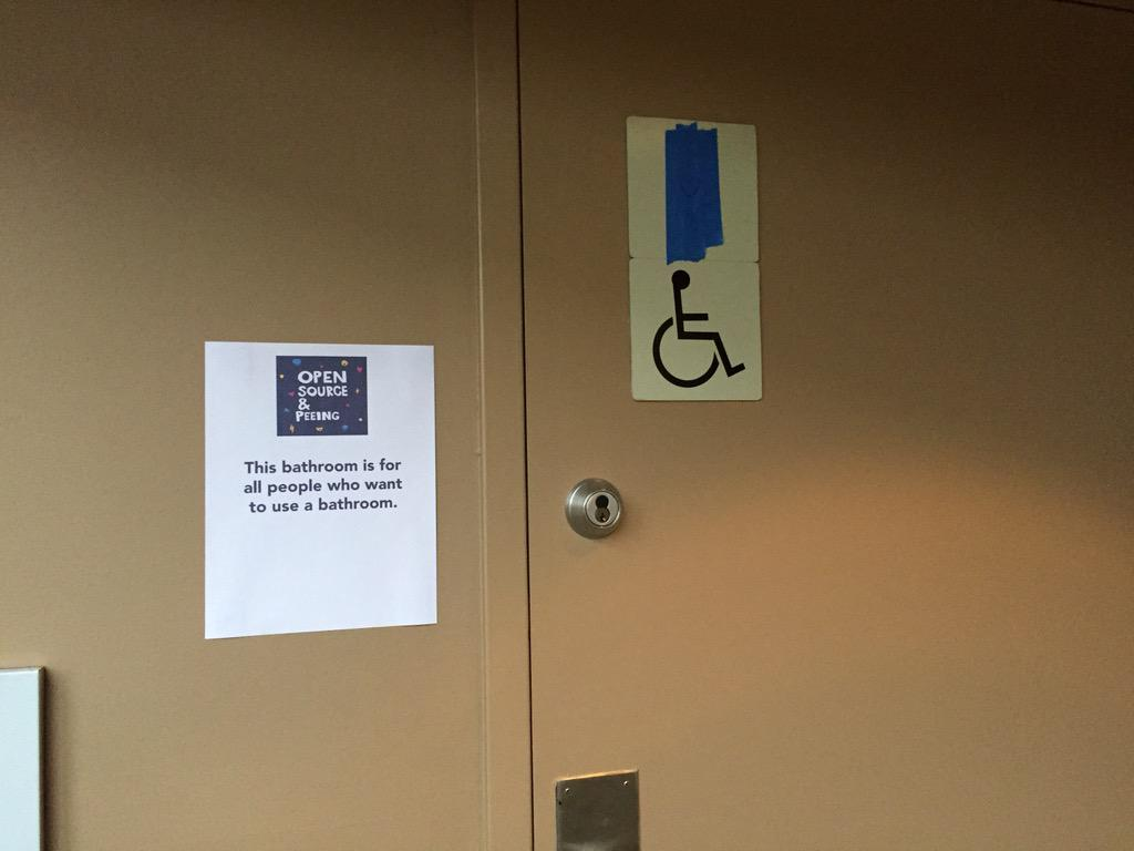 The #osfeels folks kicking it off right. Bathrooms for everybody! http://t.co/lMhF8lCKQz