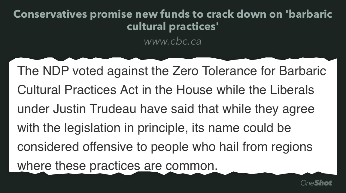 Trudeau Liberals backed #BarbaricCulturalPractices bill. Wanted name change. #elxn42  http://t.co/Nm7AUWsSg3 http://t.co/yBUU48Quip