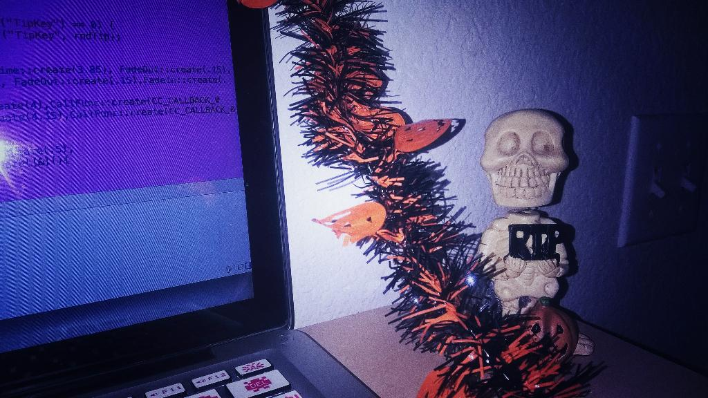 My #coding buddy for the next month! #Halloween #CountCrunch #indiegames http://t.co/JgrRQ4X2fN