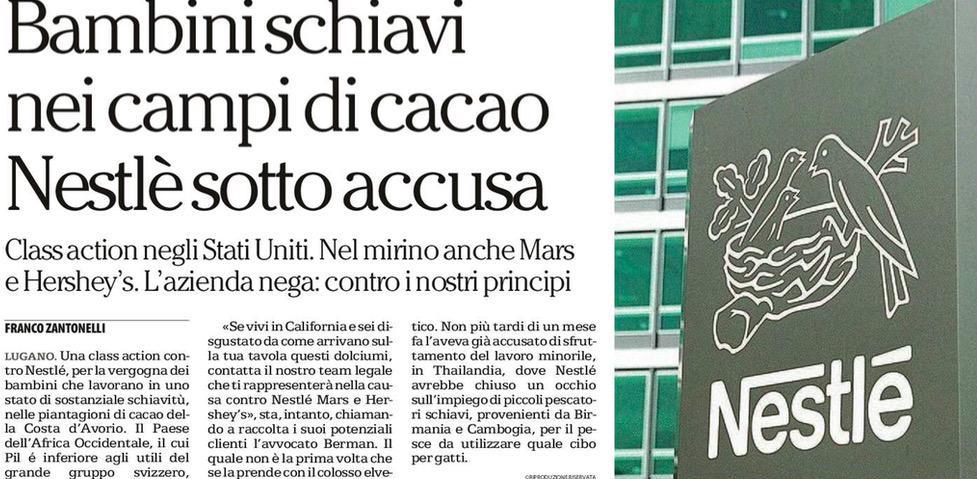 Bambini schiavi nei campi di cacao Nestlé sotto accusa.
