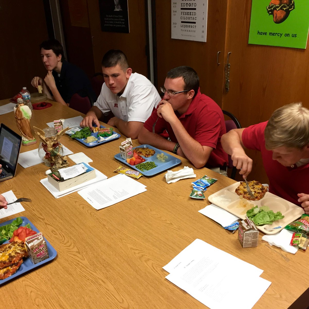 """Part of our """"St. Joseph's Army"""" that meets over lunch @NorfolkCatholic. Today's topic was Creation. #CatholicEdChat http://t.co/SamQH8cpxA"""