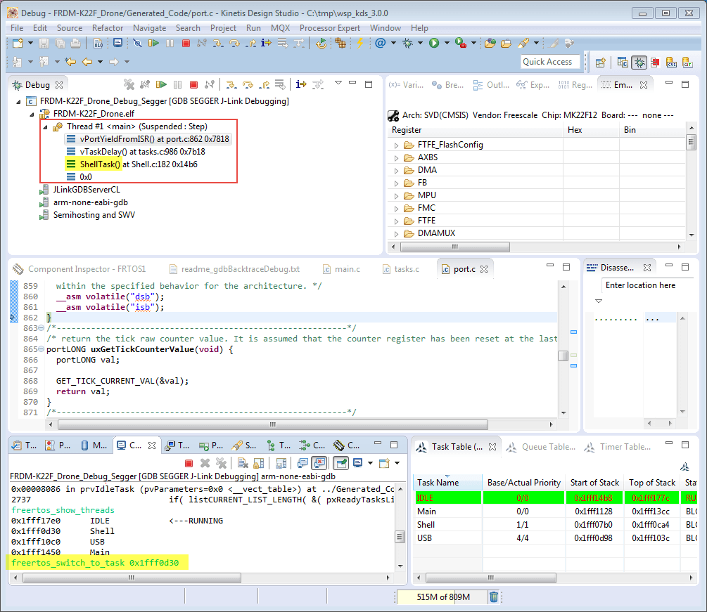 erich styger on twitter freertos arm thread debugging with eclipse