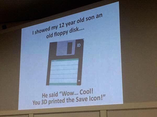 You know you are getting old when you show your son a floppy disk and he says: http://t.co/Dr4a063xYw