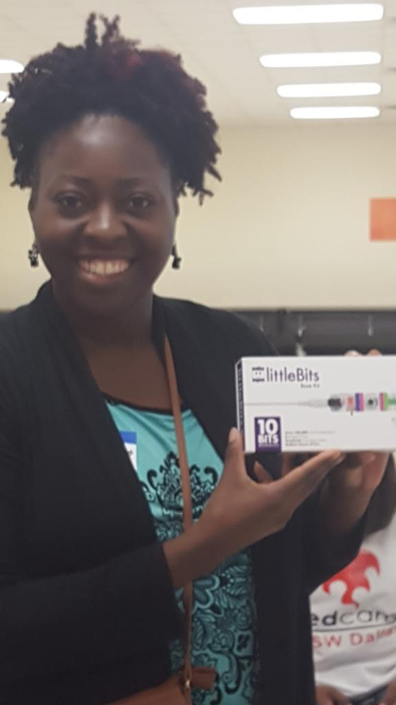 Thanks @littleBits! She was a wee bit EXCITED!!!! #edcampswd http://t.co/GwPOcyigUg