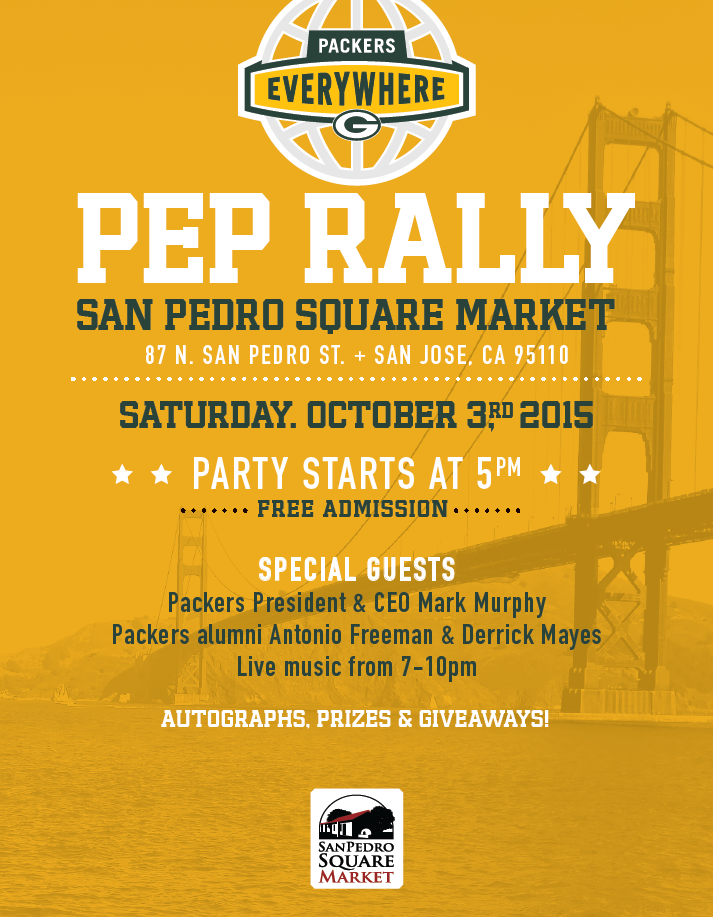 In the Bay Area for #GBvsSF?  Join us at tonight's FREE @packeverywhere pep rally! Details: http://t.co/iTa85YbdA7 http://t.co/LOumMkhWEZ