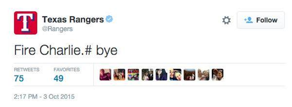 "Texas Rangers Official Twitter Account Tweets ""Fire"