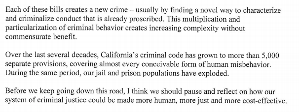 "Pretty stunning message from Gov. Brown today on proliferation of ""crimes"" in California: http://t.co/Lt91idS6RL"