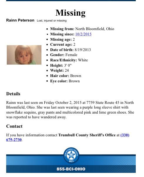 Rainn Peterson, 2, Missing Since October 2nd, 2015 - Trumbull County, OH CQbkkQoUEAAQrWq