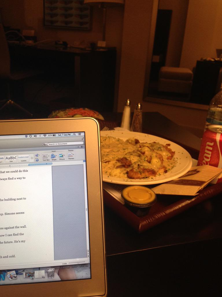 The glamorous writing life. Room service + word docs. All after a fun-filled day w/@tweensread and @BlueWillowBooks http://t.co/WKl48T5xsw