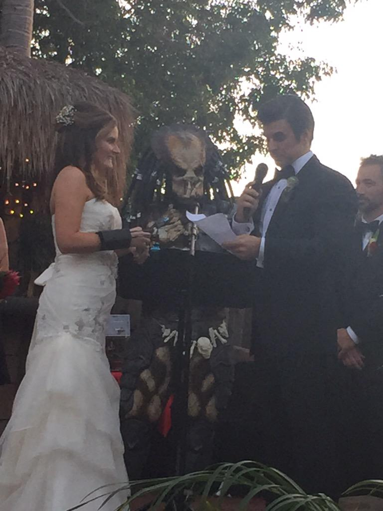 Total romance = a wedding officiated by the Predator.  #LizAndCooperWedding @cooperbarnes @LizStewartComed xo http://t.co/y4ssiw9sFX