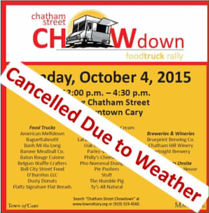 Just a reminder that Chatham Street ChowDown is cancelled. Downtown restaurants are open! #CaryNC http://t.co/VOysjZ94n6