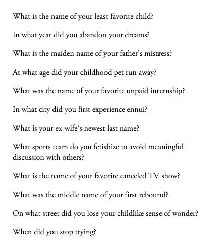 Ironic that these satirical password security questions would be a big upgrade on the usuals http://t.co/8KtvkI3vDU http://t.co/XvDzNMn5Ir