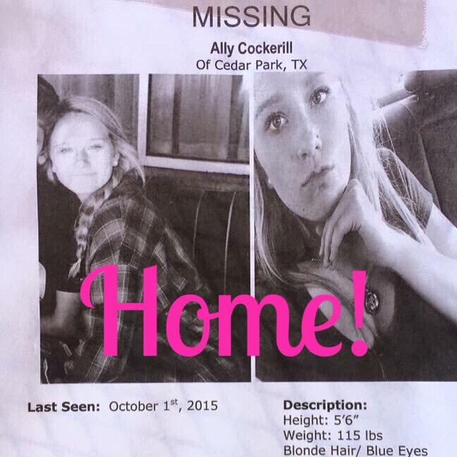 Thanks everyone for sharing! Ally is back home! #missingteen #cedarpark http://t.co/CFD6Sb3UEr