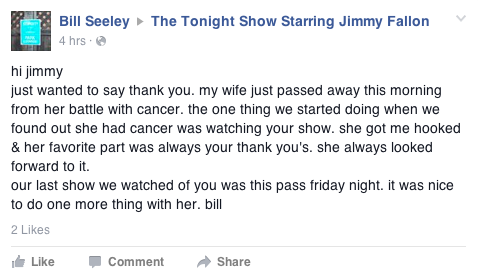 @jimmyfallon can we do something for him???? his wife died of lung cancer this morning http://t.co/8JbrOgSOU8