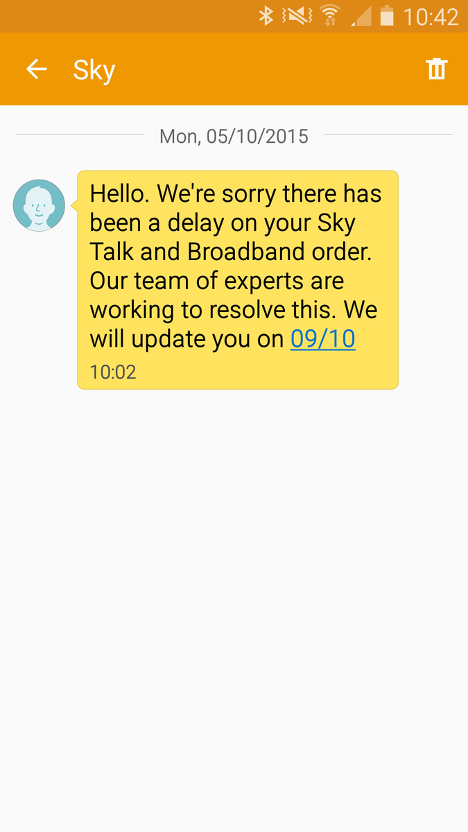 SkyHelpTeam Took Day Off Work To Wait For An Engineer To Call Out For My  Broadband And Got This Text... #useless Http://t.co/FtDCpsoJs1