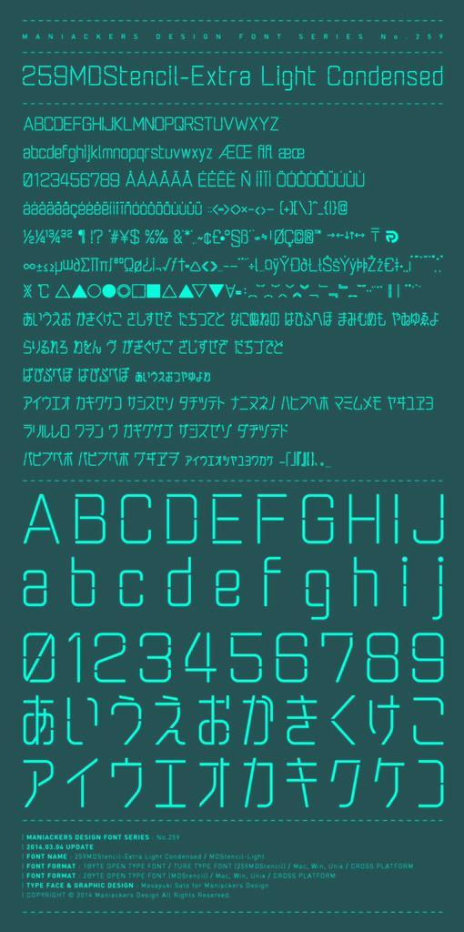 【機動戦士ガンダム 鉄血のオルフェンズ】昨日のツイートで画像貼り忘れていた「259MDStencil-Extra Light Condensed(MDStencil)」はこのフォントです。 http://t.co/dz50nTjoZV http://t.co/YQmTxoR3Cz