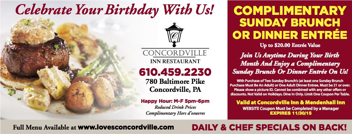 Concordville Inn On Twitter Celebrate Your Birthday With