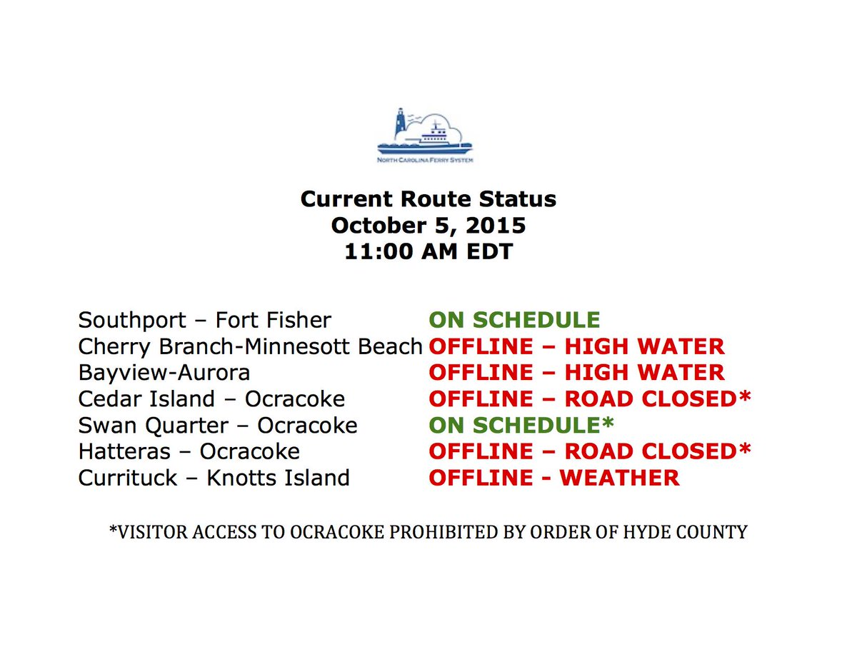 Here's the latest on all seven of our ferry routes: http://t.co/q07XDmmUb3