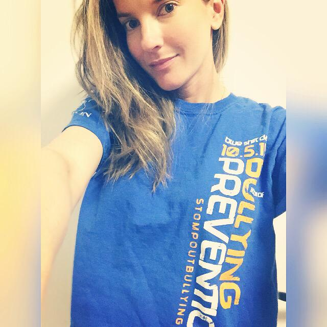 Today I support #BlueShirtDay2015 to raise awareness to the issues of bullying. #gobluetoendbullying2015