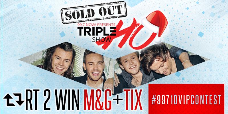 ReTweet this to win @OneDirection Meet & Greet + Tix! #9971DVIPCONTEST #997TripleHoShow