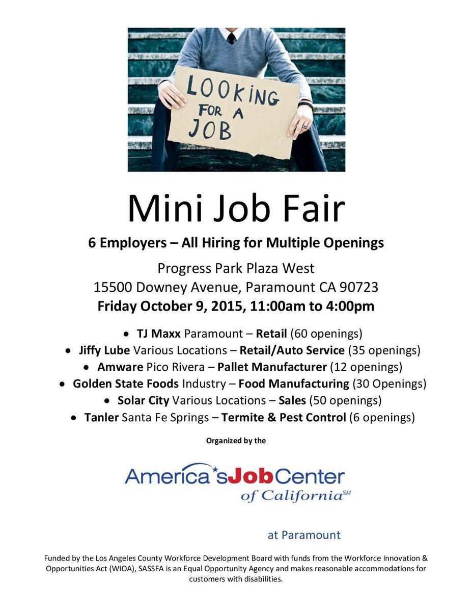 Don't miss out on these great employment opportunities! Mini Job Fair this Friday in Paramount #jobfair #employment