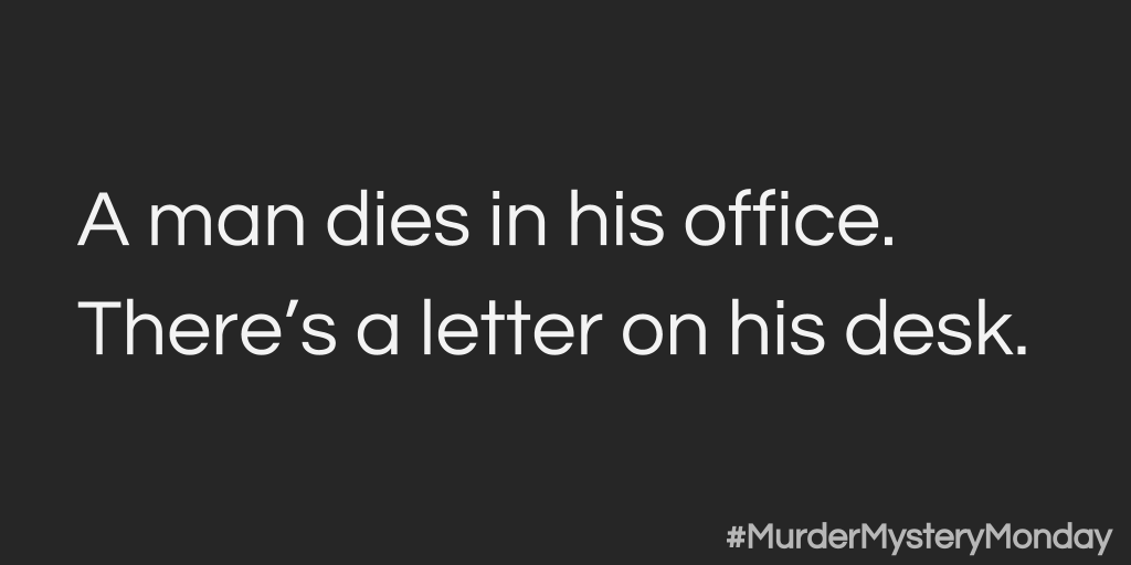 I'm starting a game called #MurderMysteryMonday. Ask yes-or-no questions to crack the case! Retweet for help! http://t.co/LRF7WhERHN