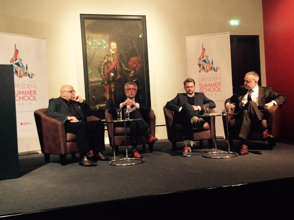 Unser Eröffnungspodium: @ArminNassehi, Hans Vorländer, Robert Koall @schauspielDD Hartwig Fischer @skdmuseum #ddss15 http://t.co/aGBqraQr9P