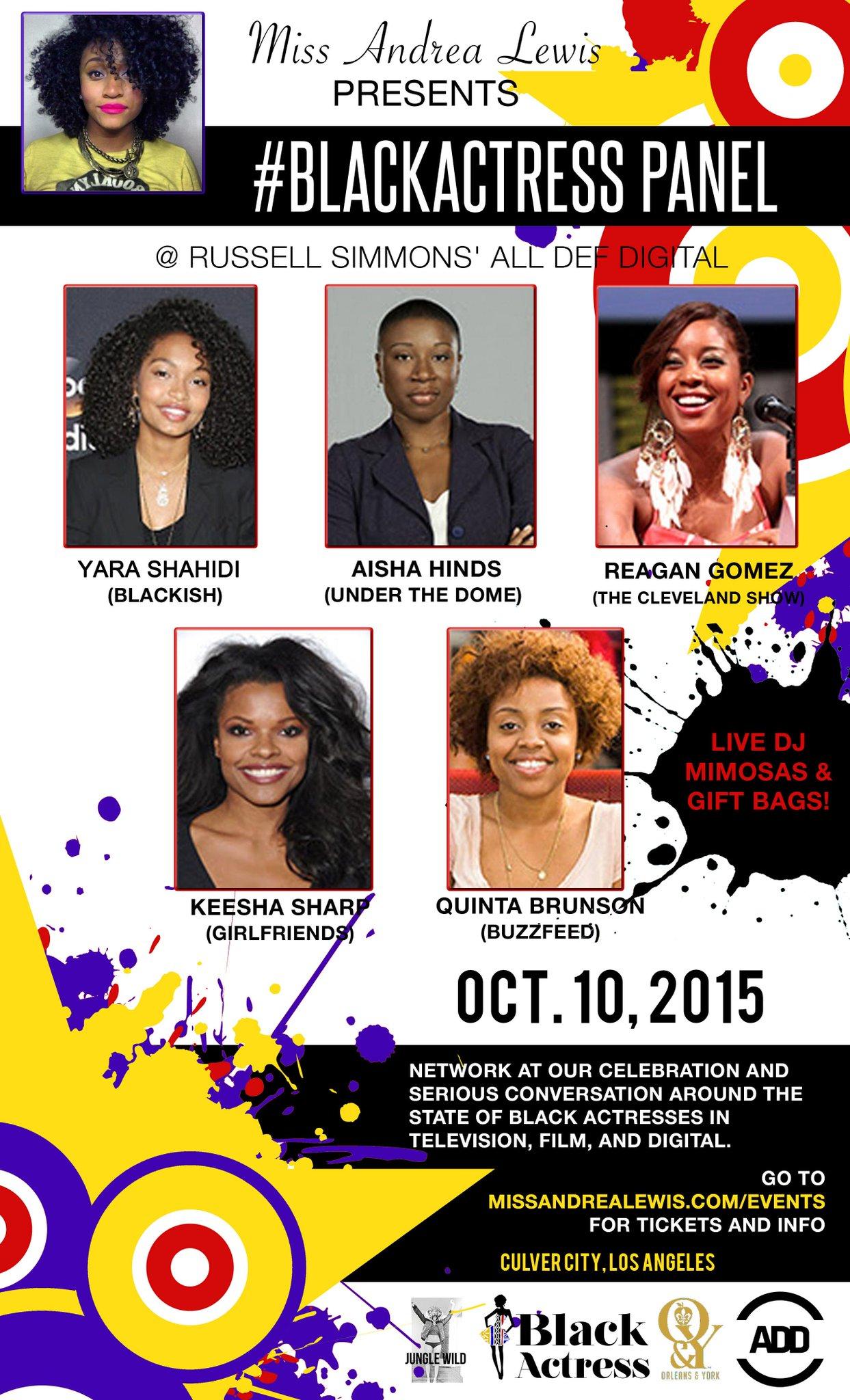 RT @AllDefDigital: This Sat. join us + @missandrealewis for the Black Actress Panel series. #squADD  Register: http://t.co/LeSoKDe9Fr http:…