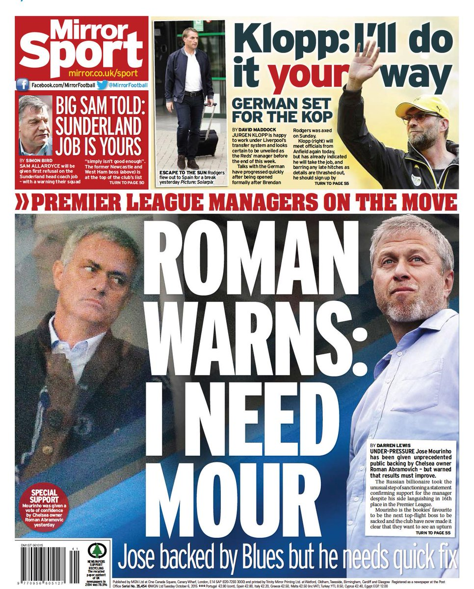 Tuesday 39 s daily mirror back page roman warns i need mour for I need a mirror