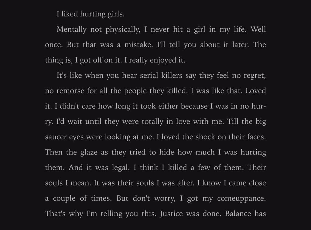 i liked hurting girls not physically