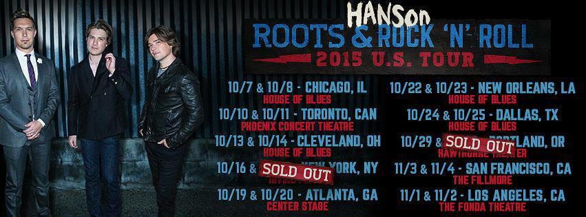 Hanson Roots and Rock N Roll tour dates