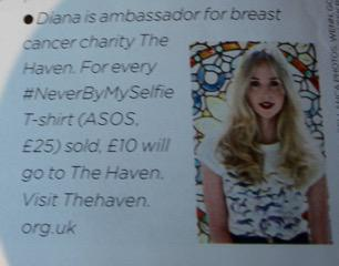 RT @BreastCancerH: @DianaVickers Featured in @closerweekly wearing our Haven tee designed by @SAVANNAH_MILLER #NeverByMySelfie http://t.co/…