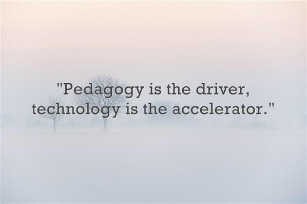 "This talk on digital fluency reminds me of this quote. ""Pedagogy is driver. Technology is the accelerator"" #ulearn15 http://t.co/wulcjGmtCR"