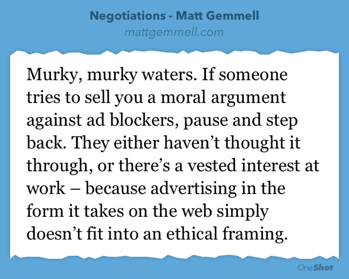 A must read from @mattgemmell on ad blocking