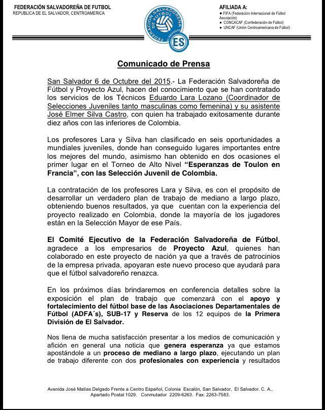 Nuevos coordinadores de selecciones: profesores Eduardo Lara y Jose Elmer Silva. CQqchXgUcAAj148