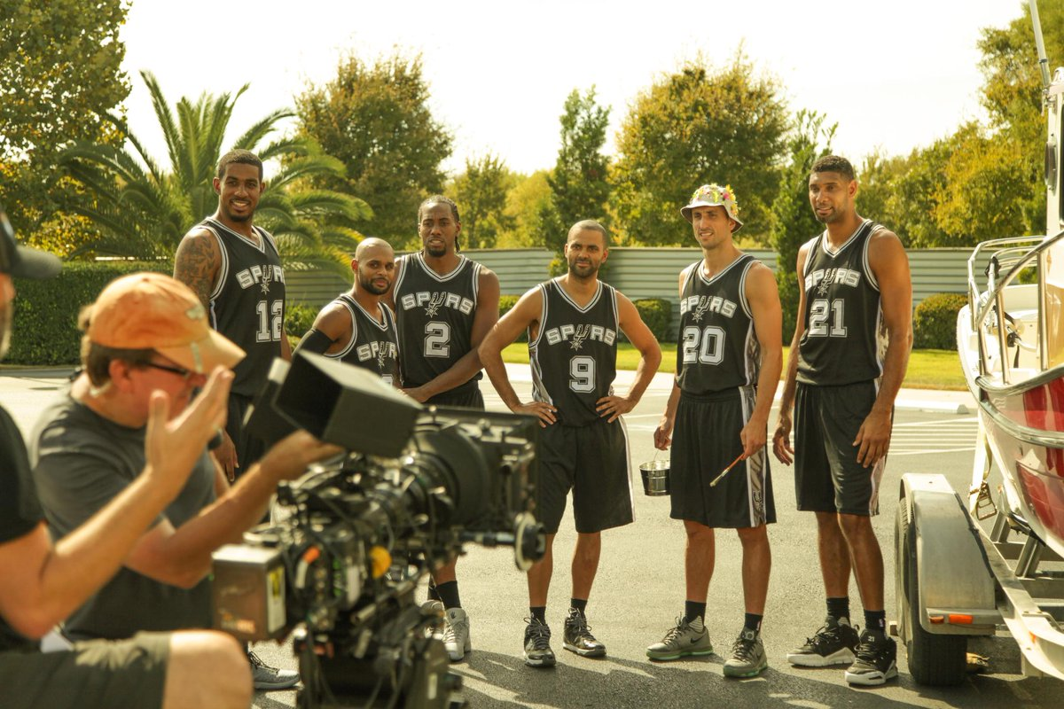 Check out this behind-the-scenes sneak peek from our shoot today with your favorite @Spurs players! #GoSpursGo http://t.co/Q6XWuDaf02