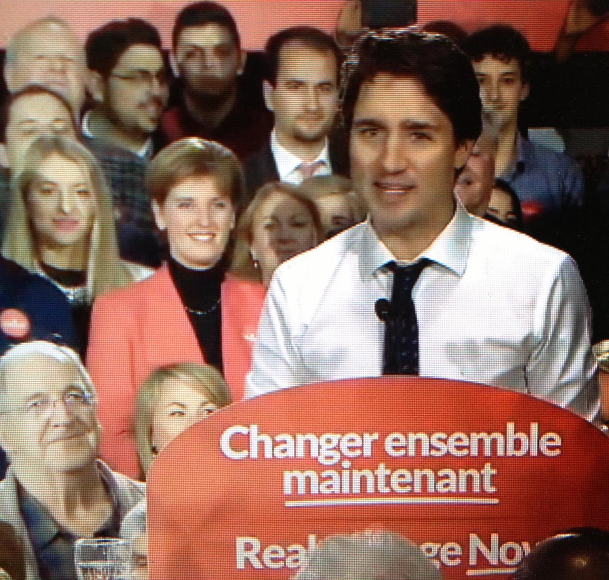 #Trudeau in Sherbrooke, Que. says #Harper appeals to 'our worst instincts.' Calls Harper's politics 'mean, negative.'